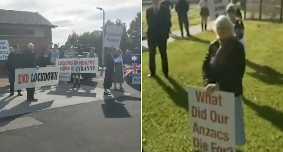 Protestors in West Gippsland calling for an end to the lockdown.