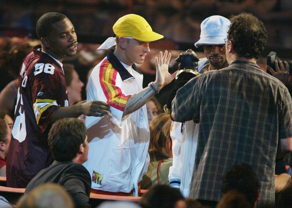 "No one is safe from Eminem's wrath – not even a cuddly little dog puppet (who happens to have a really filthy mouth). At the 2002 MTV Video Music Awards, Triumph the Insult Comic Dog approached the rapper, but before he could even bark out an insult, Em jumped out of his seat and pummeled the cigar-smoking pup (Triumph later held a press conference about the skirmish wearing a neck brace). Although Em took another swipe at the puppet in his 2004 song, ""Ass Like That,"" he expressed regret over the televised incident in his 2008 memoir. ""I'd been so busy touring and doing my own s--t that I hadn't had time to watch TV, so I had no idea what that dog was,"" he wrote. ""I should have kept my composure."""