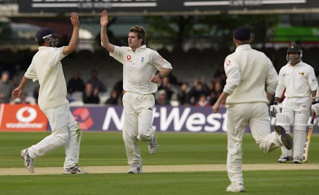 Anderson celebrates taking his first Test wicket against Zimbabwe in 2003