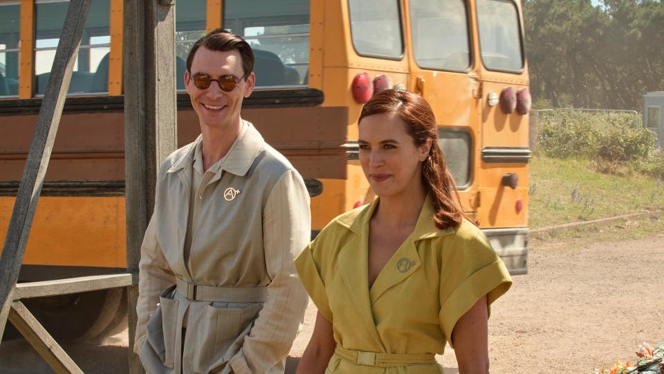 Harry Lloyd and Jessica Brown Findlay in 'Brave New World'. (Credit: Sky/Peacock)