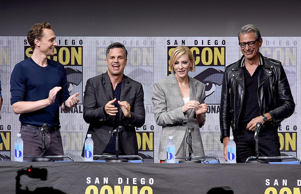 <p>Tom Hiddleston, Mark Ruffalo, Cate Blanchett, and Jeff Goldblum promote <em>Thor: Ragnarok</em> at Comic-Con International 2017. (Photo by Kevin Winter/Getty Images) </p>
