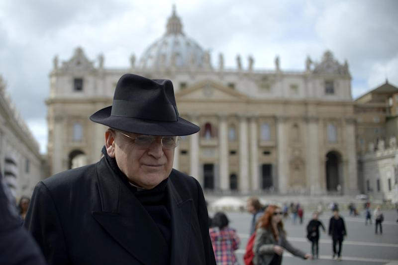 US cardinal Leo Raymond Burke walks through St Peter's Square after a cardinals' meeting at the Vatican, on March 11, 2013 (AFP Photo/Johannes Eisele)
