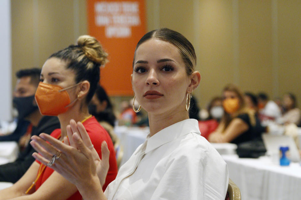 MEXICO CITY, MEXICO - JULY 5, 2021: Mariana Rodriguez Cantu, wife of the governor-elect of the state of Nuevo Leon and fashion influencer and businesswoman, during the XXI Session of the National Council on July 5, 2021 in Mexico City, Mexico. (Photo credit should read Luis Barron / Eyepix Group/Barcroft Media via Getty Images)
