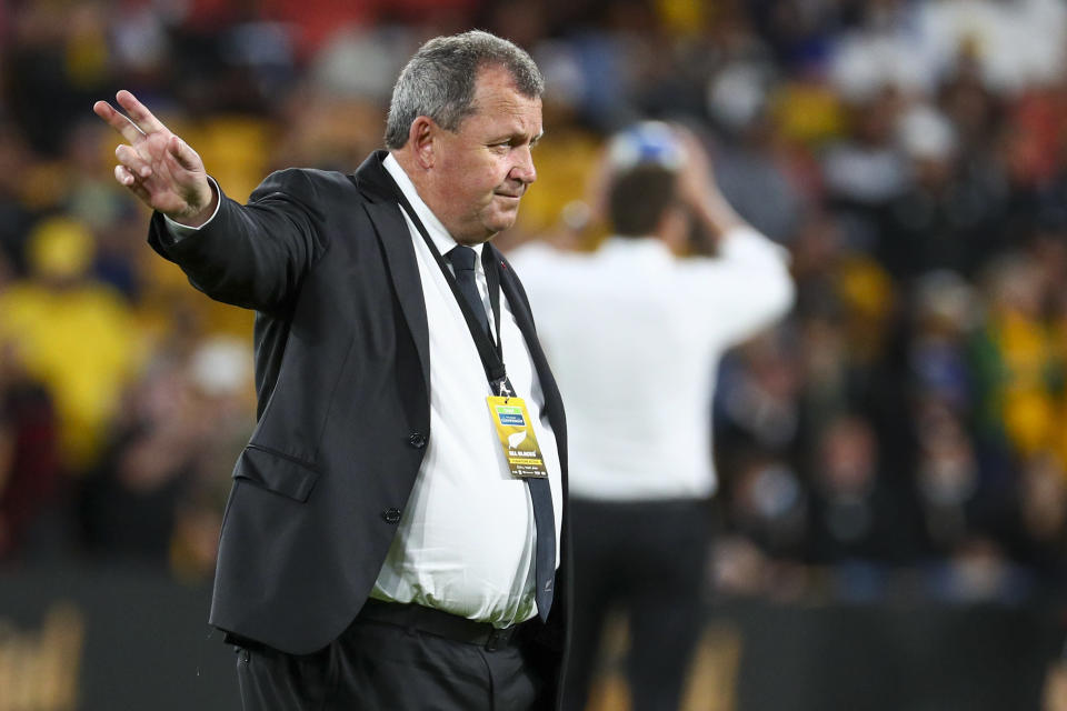New Zealand head coach Ian Foster gestures as he watches his players warm up ahead of the Rugby Championship test match between the All Blacks and the Pumas in Brisbane, Australia, Saturday, Sept. 18, 2021. (AP Photo/Tertius Pickard)