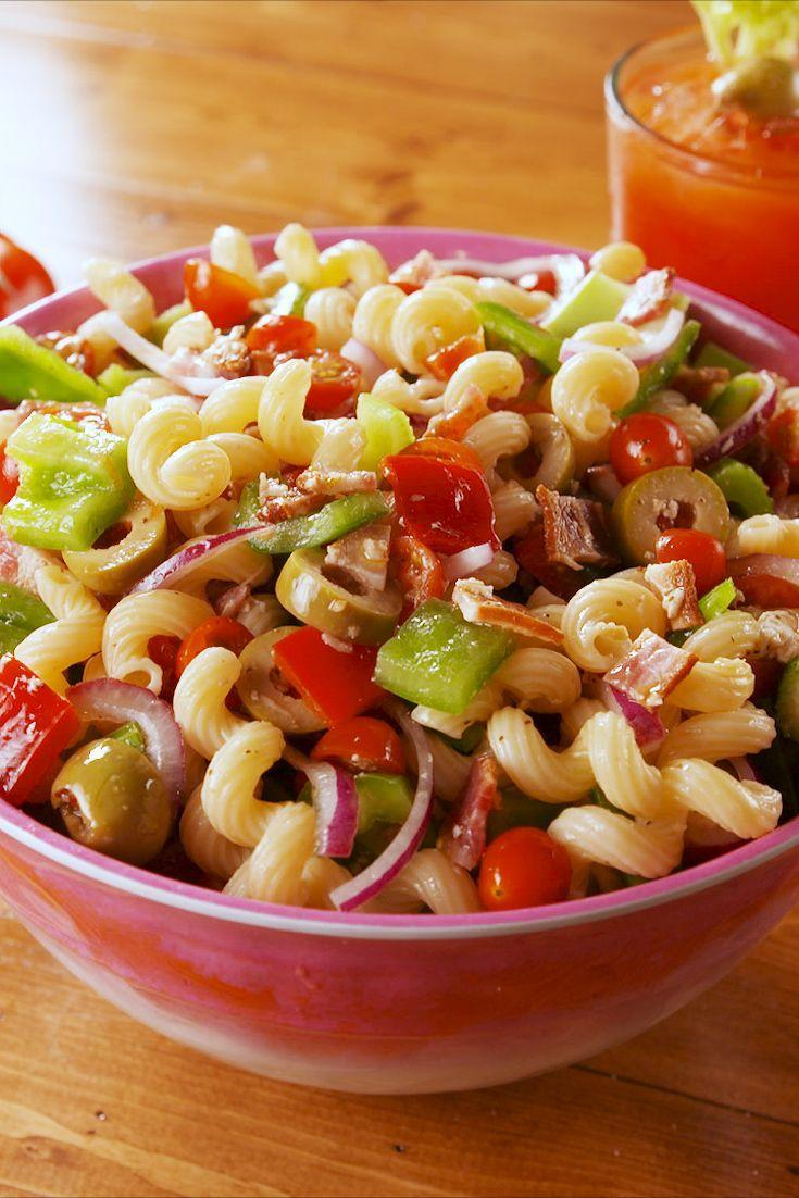 """<p>Everything but the vodka!</p><p>Get the recipe from <a href=""""https://www.delish.com/cooking/recipe-ideas/a22026118/bloody-mary-pasta-salad-recipe/"""" rel=""""nofollow noopener"""" target=""""_blank"""" data-ylk=""""slk:Delish."""" class=""""link rapid-noclick-resp"""">Delish.</a></p>"""