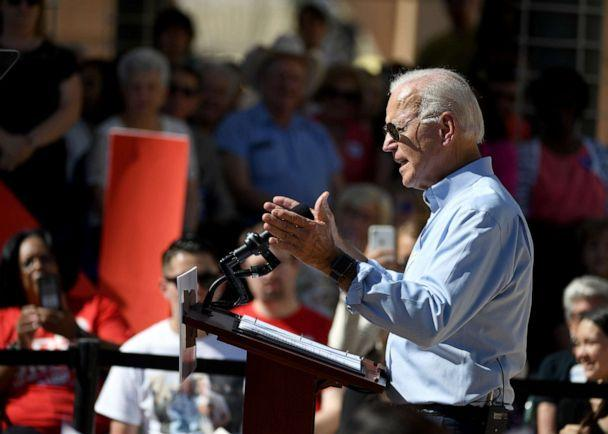 PHOTO: Democratic presidential candidate and former U.S. Vice President Joe Biden speaks to voters at the East Las Vegas Community Center, Sept. 27, 2019, in Las Vegas. (Ethan Miller/Getty Images, FILE)