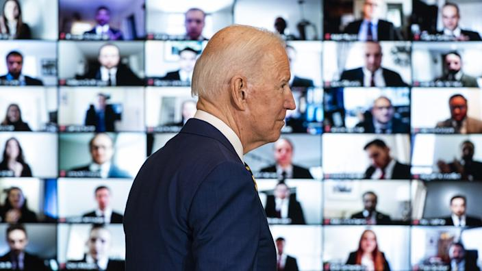U.S. President Joe Biden arrives to speak at the State Department in Washington, D.C., U.S., on Thursday, Feb. 4, 2021. (Jim Lo Scalzo/EPA/Bloomberg via Getty Images)