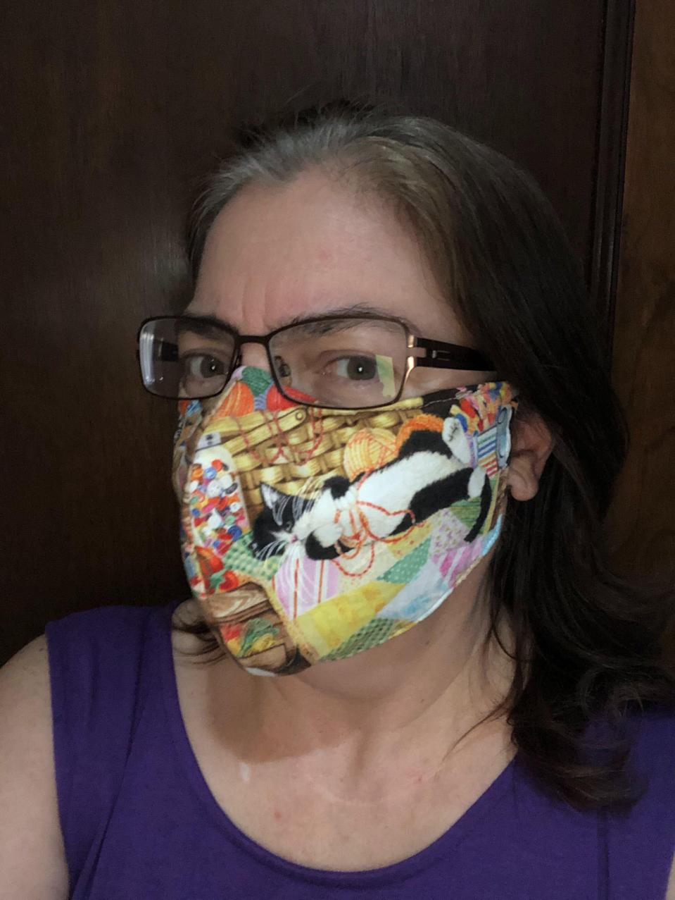 "<p>I'm a seamstress sometimes, so I jumped at the chance to make my own mask back in March. I used the <a href=""https://www.youtube.com/watch?v=pbqkLcPHhcQ&feature=youtu.be"" rel=""nofollow noopener"" target=""_blank"" data-ylk=""slk:directions"" class=""link rapid-noclick-resp"">directions</a> from the folks at The Fabric Patch in Ephrata, Washington, who coordinated and inspired the production of 167,000 masks for health care workers and health care offices. An engineer made this set of many-size <a href=""https://media.rainpos.com/220/jessemask.pdf"" rel=""nofollow noopener"" target=""_blank"" data-ylk=""slk:patterns"" class=""link rapid-noclick-resp"">patterns</a>, which I've used for everyone in my family. Owner Cindi Rang has several great <a href=""https://www.youtube.com/watch?v=pbqkLcPHhcQ&feature=youtu.be"" rel=""nofollow noopener"" target=""_blank"" data-ylk=""slk:videos"" class=""link rapid-noclick-resp"">videos</a> as well as lists of <a href=""http://www.fabricpatch.net/face-masks-for-covid-19-relief.htm"" rel=""nofollow noopener"" target=""_blank"" data-ylk=""slk:recommended materials"" class=""link rapid-noclick-resp"">recommended materials</a>. She suggested a nonwoven interfacing for the lining, which means I don't have to change the filter, because it's built in. I tried to blow out a match and couldn't. No germs are getting out of there! <a href=""https://amzn.to/2WtLRPO"" rel=""nofollow noopener"" target=""_blank"" data-ylk=""slk:Iron-on Pellon"" class=""link rapid-noclick-resp"">Iron-on Pellon</a> works great since it will keep the inner lining stiff enough to not suck up against your mouth. You can also buy <a href=""https://amzn.to/2WrVfn6"" rel=""nofollow noopener"" target=""_blank"" data-ylk=""slk:nose wires"" class=""link rapid-noclick-resp"">nose wires</a> and <a href=""https://amzn.to/3jdY2Ko"" rel=""nofollow noopener"" target=""_blank"" data-ylk=""slk:thin elastic"" class=""link rapid-noclick-resp"">thin elastic</a> for the ear loops. —<em>Talley Sue Hohlfeld, copy director</em></p> <p>Pellon Fusible Interfacing, <a href=""https://amzn.to/2WtLRPO"" rel=""nofollow noopener"" target=""_blank"" data-ylk=""slk:$21 at Amazon"" class=""link rapid-noclick-resp""><strong>$21 at Amazon</strong></a> <br> Sinerixc Plastic White Twist Ties, <a href=""https://amzn.to/2WrVfn6"" rel=""nofollow noopener"" target=""_blank"" data-ylk=""slk:$7 at Amazon"" class=""link rapid-noclick-resp""><strong>$7 at Amazon</strong></a><br> Mandala Crafts Flat Elastic Band, <a href=""https://amzn.to/3jdY2Ko"" rel=""nofollow noopener"" target=""_blank"" data-ylk=""slk:$10 at Amazon"" class=""link rapid-noclick-resp""><strong>$10 at Amazon</strong></a></p>"