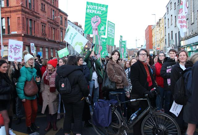 People gather in Dublin's Parnell Square on March 8 to call for the repeal of the eighth amendment.