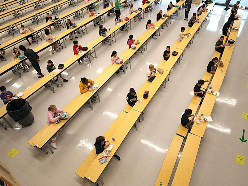 school students socially distant cafeteria