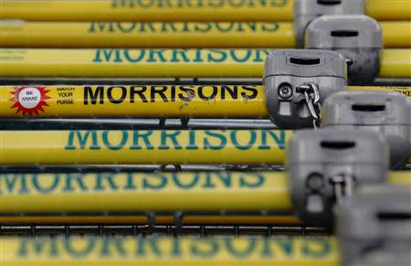 Shopping trolleys are seen at a Morrisons supermarket in north London