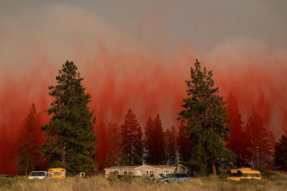 """Fire retardant dropped from an airplane falls to the ground near the Chuweah Creek Fire as wildfires devastate Nespelem, Wash. on July 14.<span class=""""copyright"""">David Ryder—Reuters</span>"""