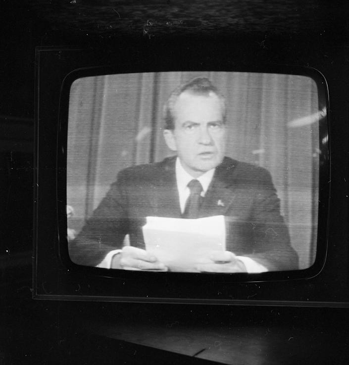<p>President Richard Nixon announces his resignation on national television, following the Watergate scandal on Aug. 8, 1974. (Photo: Pierre Manevy/Express/Getty Images) </p>