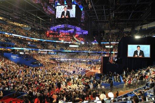 Republican vice presidential nominee Paul Ryan addresses the crowd at the Tampa Bay Times Forum in Tampa, Florida, on August 29, during the Republican National Convention (RNC). Ryan energized Mitt Romney's White House bid with a scathing take-down of Barack Obama's economic record as he accepted the vice presidential nomination