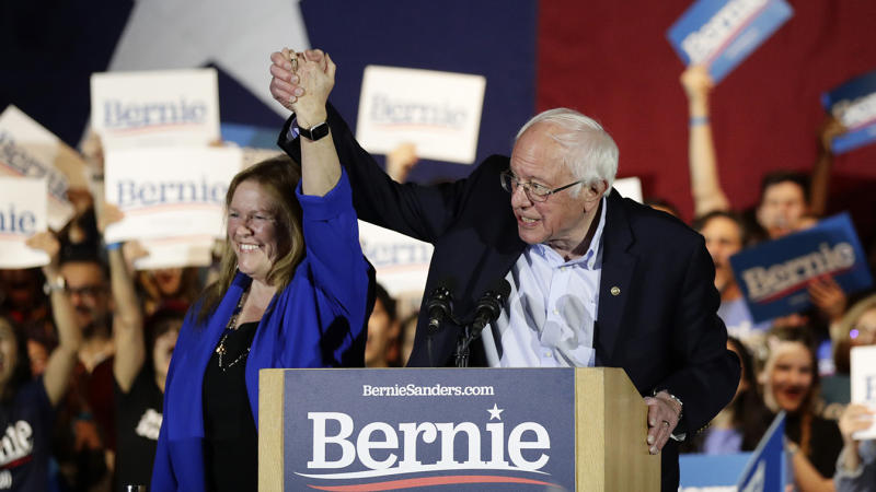 Sen. Bernie Sanders, I-Vt., right, with his wife Jane, speaks during a campaign event in San Antonio on Feb. 22, 2020. (Eric Gay/AP)