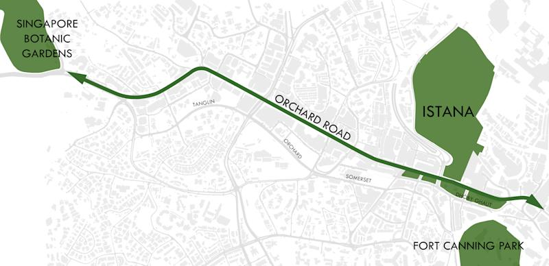 Orchard Road becoming a green urban corridor. (SOURCE: Urban Redevelopment Authority)