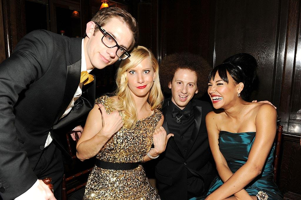 """A few members of the """"Glee"""" gang -- Kevin McHale, Heather Morris, Josh Sussman, and Naya Rivera -- hung out at Fox Television's after party at Cicada. Frazer Harrison/<a href=""""http://www.gettyimages.com/"""" target=""""new"""">GettyImages.com</a> - August 29, 2010"""