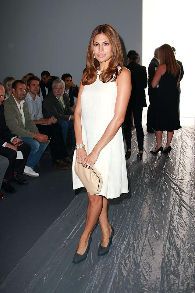 "Actress-turned-model Eva Mendes attended Calvin Klein's spring show in a classic and chic CK dress. Andrew H. Walker/<a href=""http://www.gettyimages.com/"" target=""new"">GettyImages.com</a> - September 11, 2008"