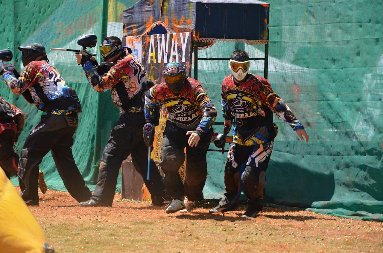 Action from the International Paintball Indian Open 2012. Team Raskals from Malaysia took the title in a hard fought battle with the Tsunami of Australia. NPL All Stars our India representatives came in fourth. Photo Leonard Aarons