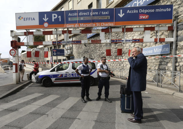 <p>French police officers patrol outside the Marseille railway station, Oct. 1, 2017. French police warn people to avoid Marseille's main train station amid reports of knife attack, assailant shot dead. (AP Photo/Claude Paris) </p>