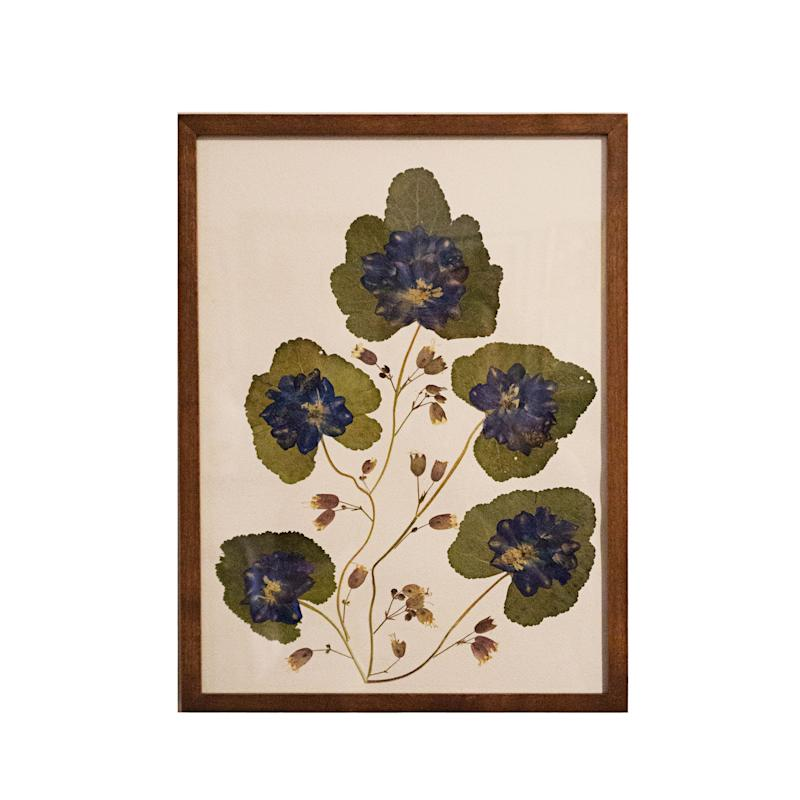 Collage of wild ginger leaves and delphiniums by Marian McEvoy; $1,200. krbnyc.com