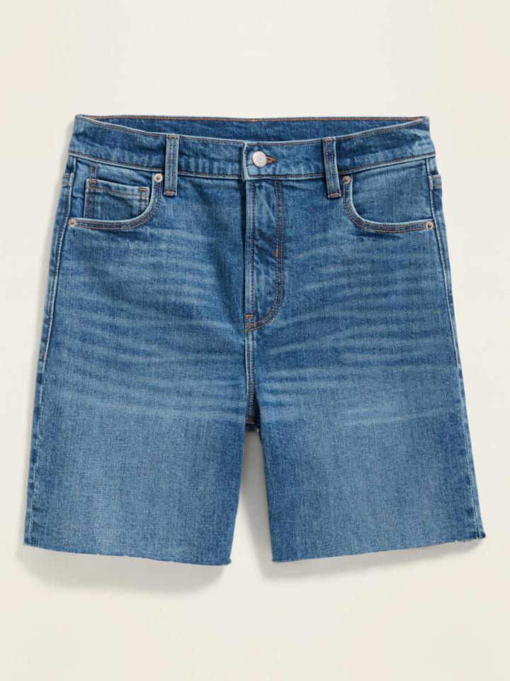 "<p>The <a href=""https://www.popsugar.com/buy/High-Waisted-Relaxed-Cut-Off-Jean-Shorts-585355?p_name=High-Waisted%20Relaxed%20Cut-Off%20Jean%20Shorts&retailer=oldnavy.gap.com&pid=585355&price=20&evar1=fab%3Aus&evar9=47578500&evar98=https%3A%2F%2Fwww.popsugar.com%2Ffashion%2Fphoto-gallery%2F47578500%2Fimage%2F47578515%2FOld-Navy-High-Waisted-Relaxed-Cut-Off-Jean-Shorts-Ol&list1=shopping%2Cold%20navy%2Cdenim%2Cshorts%2Cdenim%20shorts&prop13=api&pdata=1"" rel=""nofollow"" data-shoppable-link=""1"" target=""_blank"" class=""ga-track"" data-ga-category=""Related"" data-ga-label=""https://oldnavy.gap.com/browse/product.do?pid=552707#pdp-page-content"" data-ga-action=""In-Line Links"">High-Waisted Relaxed Cut-Off Jean Shorts</a> ($20, originally $30) have a 7-inch inseam and though they only have 1 percent spandex, they feel way more stretchy than that. </p>"