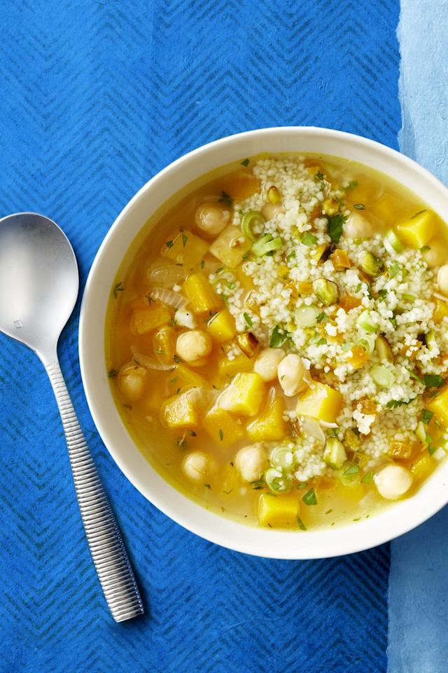 "<p>A couscous with pistachios, apricots, and cilantro goes on top of the chickpea- and bean-based dish, so you know this vegetarian dinner will fill you right up. </p><p><em><a href=""https://www.goodhousekeeping.com/food-recipes/easy/a47529/butternut-squash-and-white-bean-soup-recipe/"" target=""_blank"">Get the recipe for Butternut Squash and White Bean Soup »</a></em></p><p><strong>RELATED: <a href=""https://www.goodhousekeeping.com/food-recipes/healthy/g807/vegan-recipes/"" target=""_blank"">50+ Vegan Recipes That Your Whole Family Will Love</a></strong></p>"