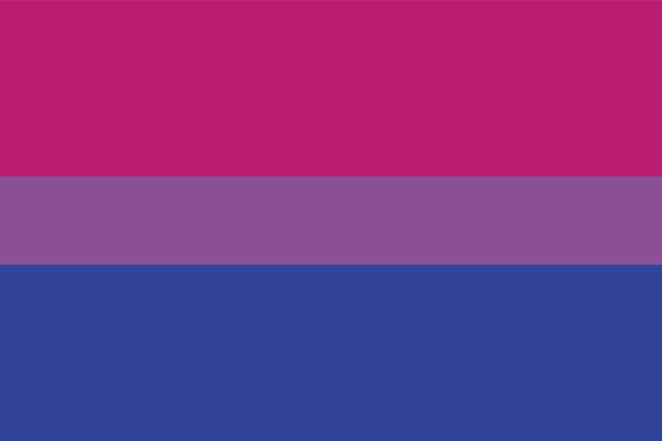 """<p>In 1998, Michael Page wanted to spotlight bisexual people within the LGBTQ+ community. Overlapping over the stereotypical colors for boys (blue) and girls (pink) is lavender—attraction to both sexes. <a href=""""https://biresource.org/resources/youth/what-is-bisexuality/"""" rel=""""nofollow noopener"""" target=""""_blank"""" data-ylk=""""slk:Bisexuality"""" class=""""link rapid-noclick-resp"""">Bisexuality</a> doesn't necessarily JUST mean an attraction to two sexes, and there are other flags to represent attraction to more than one gender (as you'll see). </p>"""
