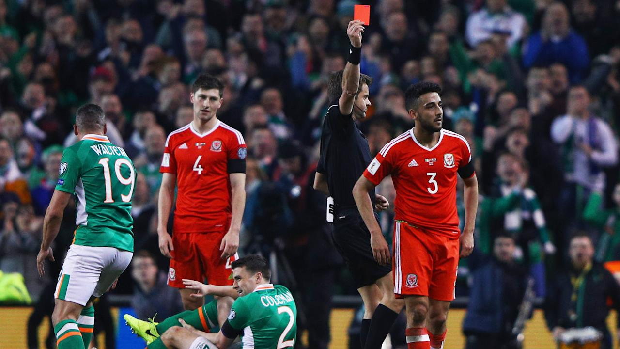 Wales will be without the defender for World Cup qualifiers against Serbia and Austria as a result of a FIFA suspension for the horror tackle