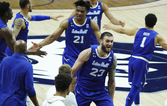 Seton Hall forward Sandro Mamukelashvili (23) reacts after defeating Connecticut in an NCAA college basketball game, Saturday, Feb. 6, 2021, at Harry A. Gampel Pavilion in Storrs, Conn. (David Butler II/Pool Photo via AP)