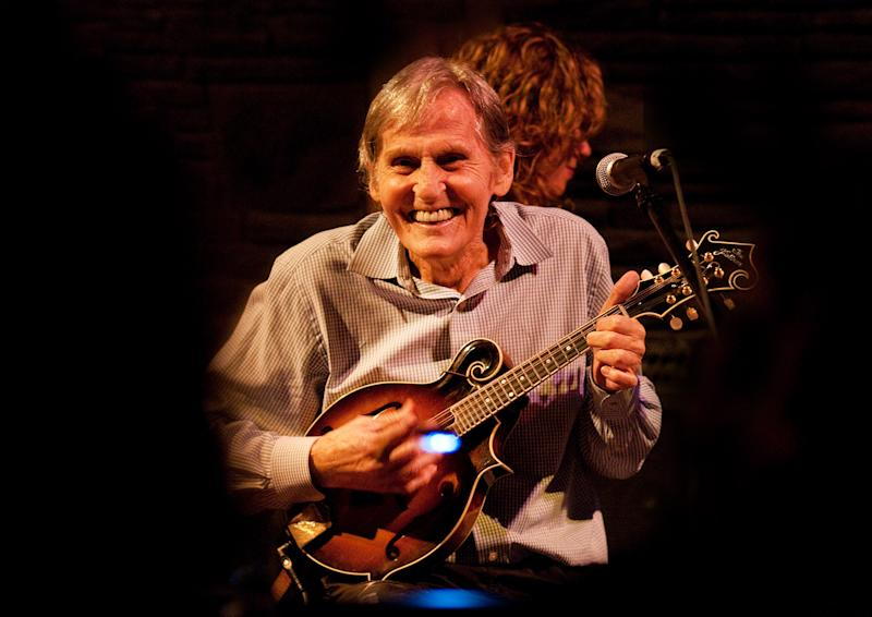 """In this May 15, 2010 photo, Levon Helm performs on the mandolin during a Ramble performance at Helm's barn in Woodstock, N.Y.  Helm, who was in the final stages of his battle with cancer, died Thursday, April 19, 2012 in New York.  He was 71.  He was a key member of The Band and lent his distinctive Southern voice to classics like """"The Weight"""" and """"The Night They Drove Old Dixie Down.""""  (AP Photo/Times Herald-Record,John DeSanto)"""