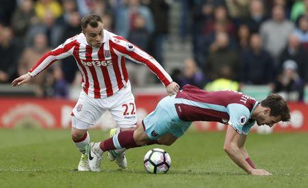 Britain Football Soccer - Stoke City v West Ham United - Premier League - bet365 Stadium - 29/4/17 Stoke City's Xherdan Shaqiri in action with West Ham United's Havard Nordtveit  Action Images via Reuters / Carl Recine Livepic