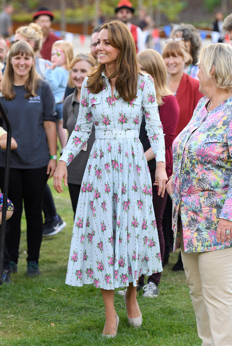 "WOKING, ENGLAND - SEPTEMBER 10: Catherine, Duchess of Cambridge attends the ""Back to Nature"" festival at RHS Garden Wisley on September 10, 2019 in Woking, England. (Photo by Karwai Tang/WireImage)"