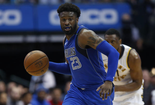 "<a class=""link rapid-noclick-resp"" href=""/nba/players/4694/"" data-ylk=""slk:Wesley Matthews"">Wesley Matthews</a> is in his ninth NBA season. (AP)"