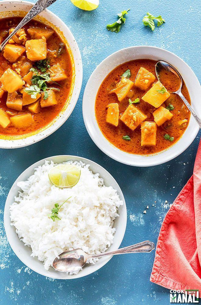 """<p>This one pot curry dish couldn't be easier. Make it with a side of jasmine rice for a fuss-free weeknight dinner. </p><p><strong>Get the recipe at <a href=""""https://www.cookwithmanali.com/instant-pot-thai-pumpkin-curry-jasmine-rice/"""" rel=""""nofollow noopener"""" target=""""_blank"""" data-ylk=""""slk:Cook with Manali"""" class=""""link rapid-noclick-resp"""">Cook with Manali</a>. </strong></p><p><a class=""""link rapid-noclick-resp"""" href=""""https://go.redirectingat.com?id=74968X1596630&url=https%3A%2F%2Fwww.walmart.com%2Fsearch%2F%3Fquery%3Dinstant%2Bpot&sref=https%3A%2F%2Fwww.thepioneerwoman.com%2Ffood-cooking%2Fmeals-menus%2Fg36729946%2Fsavory-pumpkin-recipes%2F"""" rel=""""nofollow noopener"""" target=""""_blank"""" data-ylk=""""slk:SHOP INSTANT POTS"""">SHOP INSTANT POTS</a></p>"""