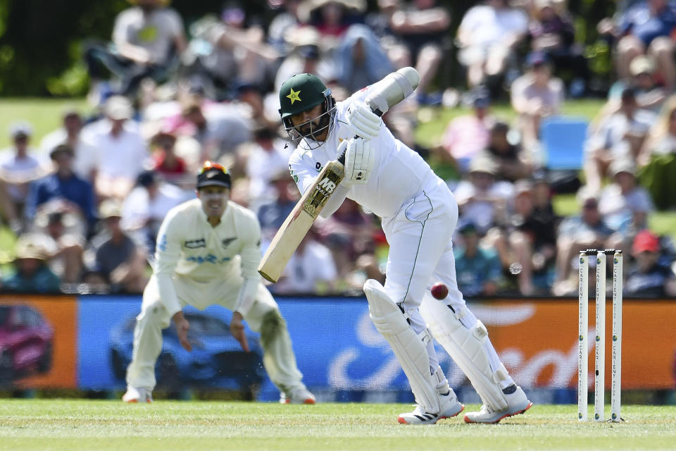 Pakistan's Azhar Ali bats during play on the first day of the second cricket test between Pakistan and New Zealand at Hagley Oval, Christchurch, New Zealand, Sunday, Jan 3. 2021. (John Davidson/Photosport via AP)
