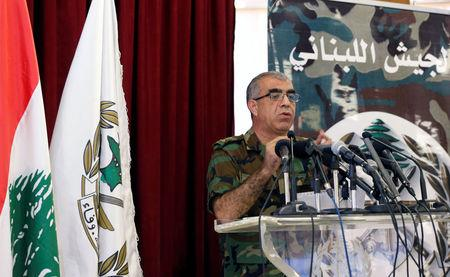 General Ali Kanso gestures as he talks during a news conference at the Ministry of Defense in Yarze Village, east of Beirut, Lebanon August 19, 2017. REUTERS/Mohamed Azakir