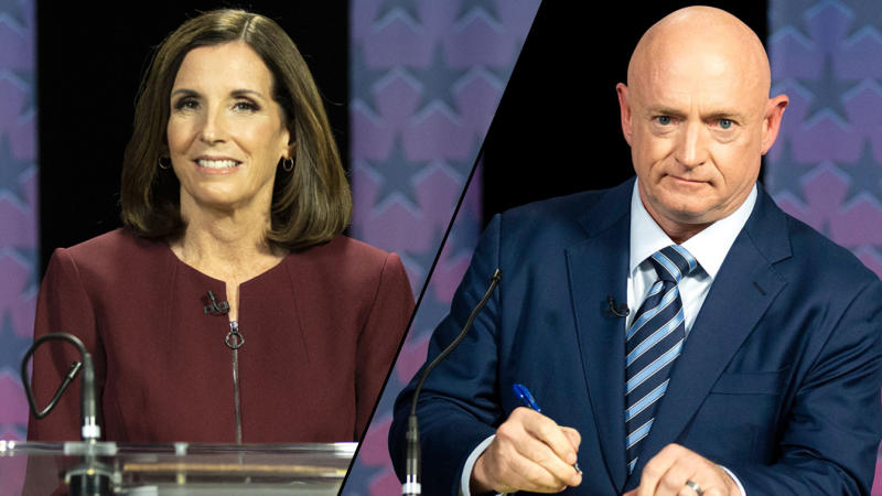 U.S. Sen. Martha McSally, R-Ariz./ Democratic challenger Mark Kelly (Rob Schumacher-Pool/Getty Images (2))
