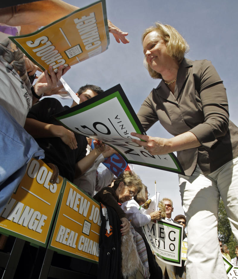 California Republican gubernatorial candidate Meg Whitman signs autographs during a campaign stop in Thousand Oaks, Calif., Monday, Oct. 25, 2010.  (AP Photo/Reed Saxon)
