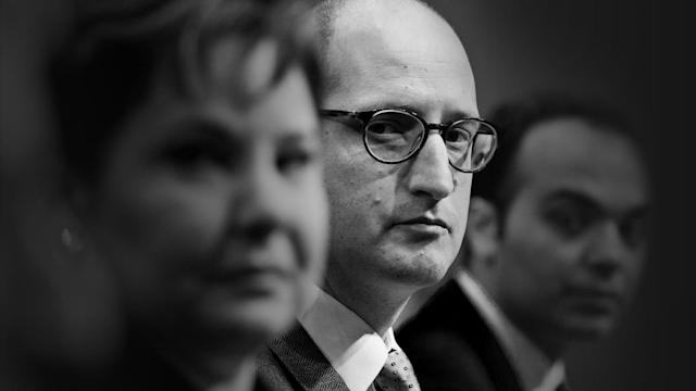 Noah Phillips at his Senate confirmation hearing in February 2018. (Andrew Harrer/Bloomberg via Getty Images)