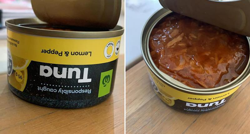 Pictured is a tin of Woolworths lemon and pepper tuna.