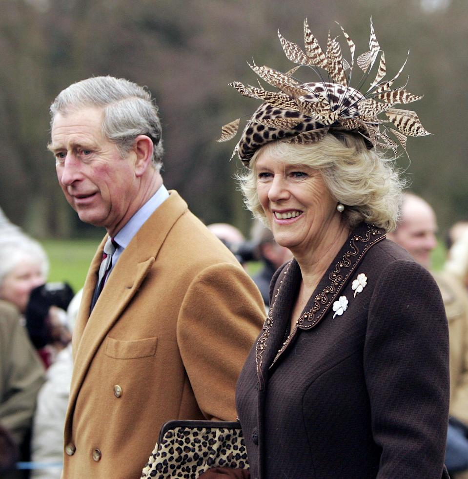 Camilla arrived in style at Sandringham in 2006, wearing this feathered hat and leopard-print bag. Photo: Getty Images