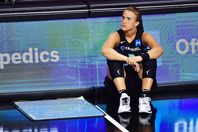 """<a class=""""link rapid-noclick-resp"""" href=""""/wnba/teams/nyl"""" data-ylk=""""slk:New York Liberty"""">New York Liberty</a> star rookie <a class=""""link rapid-noclick-resp"""" href=""""/wnba/players/6358/"""" data-ylk=""""slk:Sabrina Ionescu"""">Sabrina Ionescu</a> is expected to miss a month with a grade 3 ankle sprain she sustained Friday night. (Photo by Julio Aguilar/Getty Images)"""