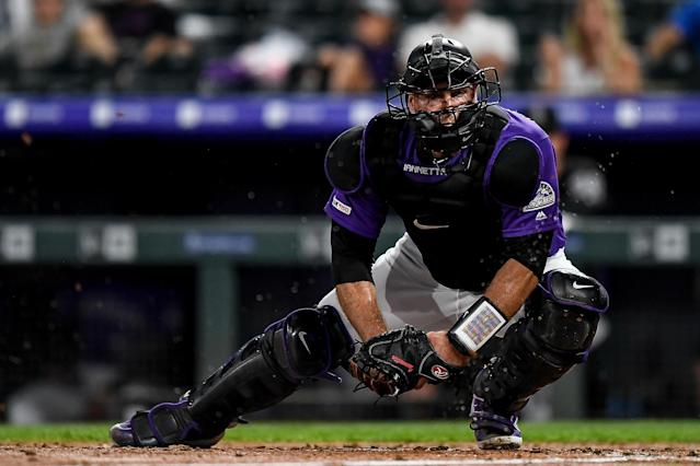 Chris Iannetta, released by the Colorado Rockies last season, is hoping the 2020 MLB season is played in some form, so he has another shot at the majors. (Photo by Dustin Bradford/Getty Images)