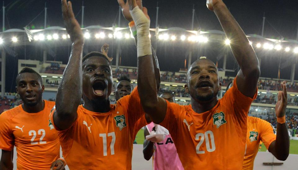 Ivory Coast celebrate their victory against Algeria in the quarter-finals of the Africa Cup of Nations on February 1, 2015 (AFP Photo/Issouf Sanogo)