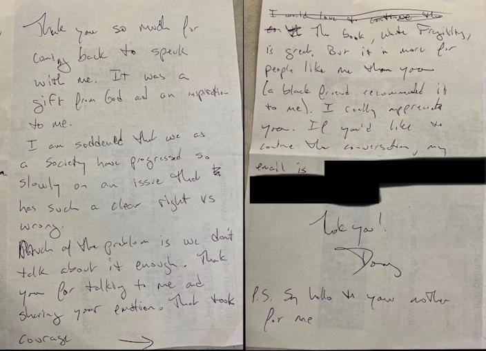 American Airlines' CEO Doug Parker's note to Southwest Airlines flight attendant JacqueRae Hill.