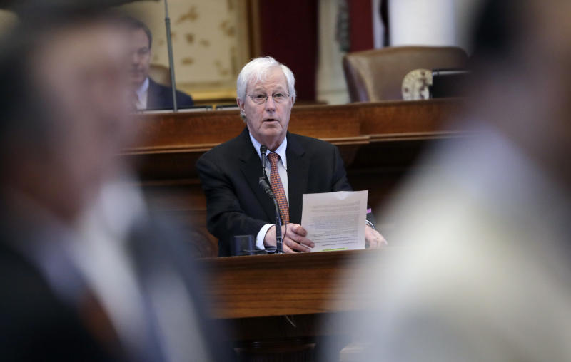 "Texas Rep. Charlie Geren, R-Fort Worth, answers questions as the Texas house debates an anti-""sanctuary cities"" bill that already cleared the Texas Senate and seeks to jail sheriffs and other officials who refuse to help enforce federal immigration law, Wednesday, April 26, 2017, in Austin, Texas. Many sheriffs and police chiefs in heavily Democratic areas warn that it will make their jobs harder if immigrant communities, including crime victims and witnesses, become afraid of police. (AP Photo/Eric Gay)"