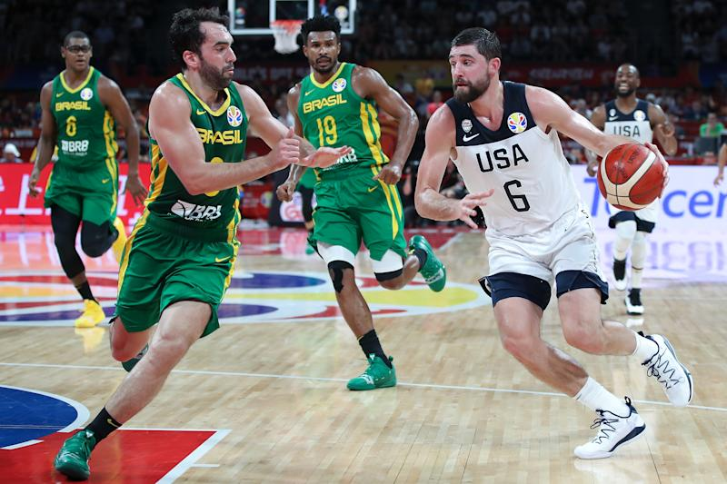 SHENZHEN, CHINA - SEPTEMBER 09: Joe Harris of USA in action during FIBA World Cup 2019 Group K match between USA and Brazil at Shenzhen Bay Sports Centre on September 9, 2019 in Shenzhen, China. (Photo by Lintao Zhang/Getty Images)