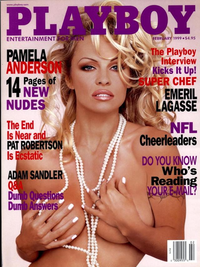<p>Pamela Anderson holds the record for the most <em>Playboy</em> covers — she's appeared on 13. Anderson's first cover was in 1989, and her most recent was in 2011. However, it's this February 1999 pearl necklace cover that became the most memorable. (Photo: Playboy) </p>