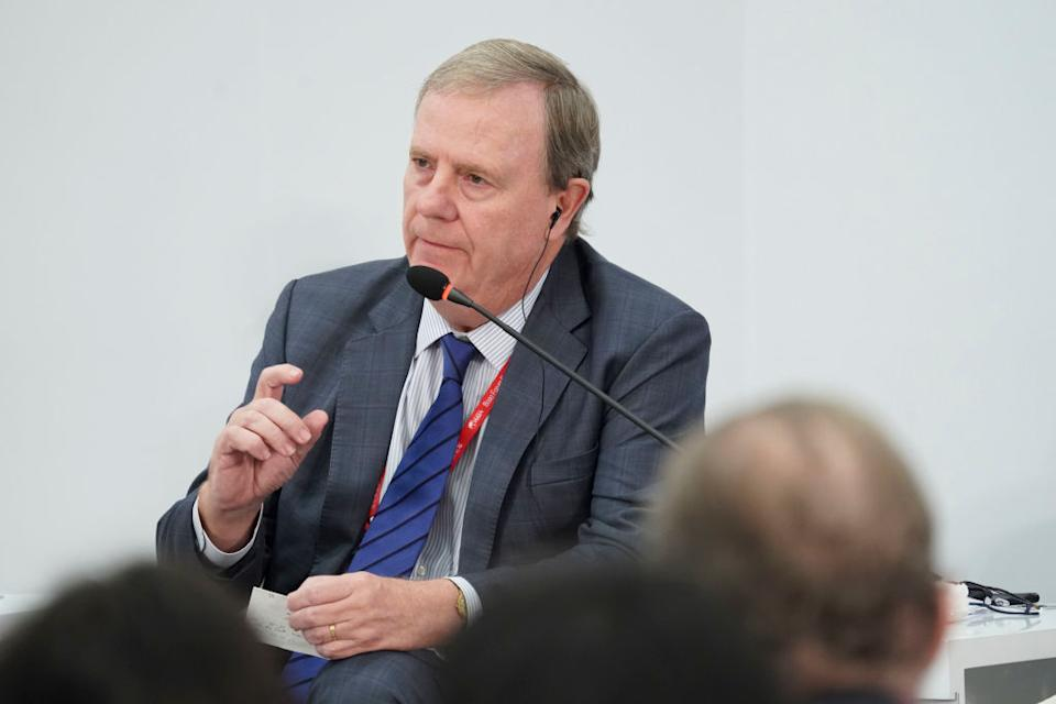 Peter Costello speaking at a conference in Hainan, China in 2018. (Photo by Visual China Group via Getty Images/Visual China Group via Getty Images)